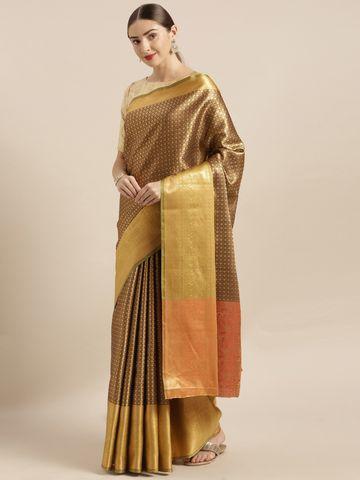 Vastranand | VASTRANAND  Brown & Gold-Coloured Silk Blend Woven Design Kanjeevaram Saree