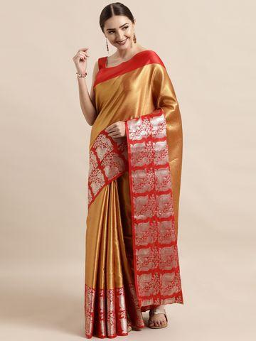 Vastranand | VASTRANAND  Gold-Toned & Red Silk Blend Solid Kanjeevaram Saree