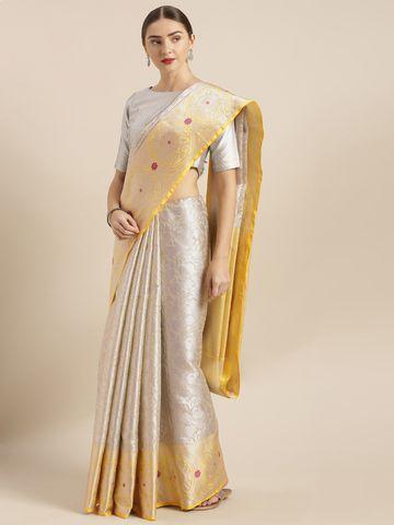 Vastranand | VASTRANAND  Silver-Toned & Yellow Kora Muslin Silk Blend Woven Design Kanjeevaram Saree