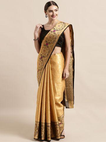 Vastranand | VASTRANAND  Gold-Toned & Black Silk Blend Woven Design Kanjeevaram Saree