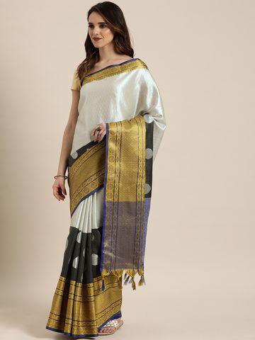 Vastranand | VASTRANAND  Silver-Toned & Black Silk Blend Woven Design Kanjeevaram Saree