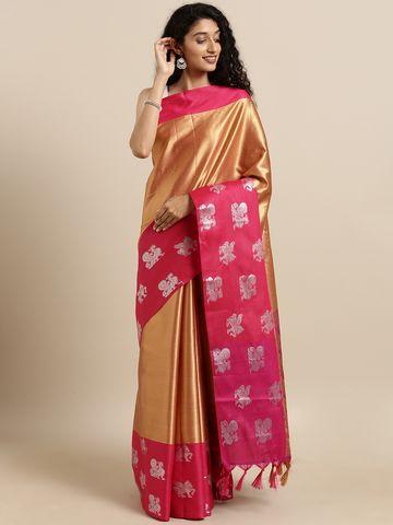 Vastranand | VASTRANAND  Gold-Coloured & Pink Kora Muslin Silk Blend Woven Design Kanjeevaram Saree