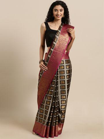 Vastranand | VASTRANAND  Black & Gold-Toned Linen Woven Design Checked Kanjeevaram Kora Muslin Saree