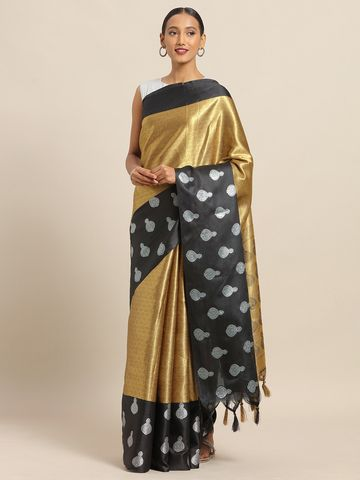 Vastranand | VASTRANAND Gold-Toned & Black Silk Blend Woven Design Kanjeevaram Saree