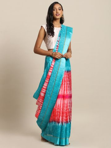 Vastranand | VASTRANAND  Coral Red & Blue Net Dyed Kota Saree