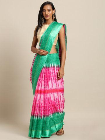 Vastranand | VASTRANAND  Pink & Green Net Dyed Kota Saree