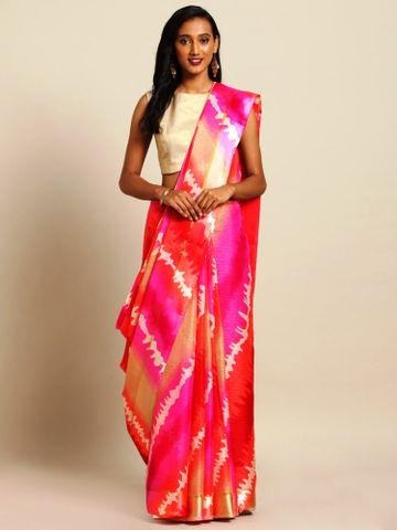 Vastranand | VASTRANAND  Pink & Cream-Coloured Net Dyed Kota Saree