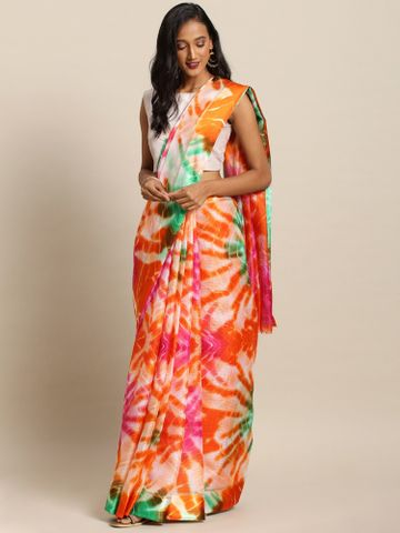 Vastranand | VASTRANAND  Orange & Off-White Net Shibori Dyed Kota Saree
