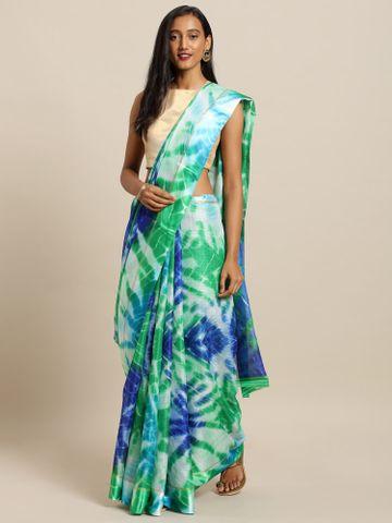 Vastranand | VASTRANAND  Green & Blue Net Shibori Printed Kota Doriya Saree