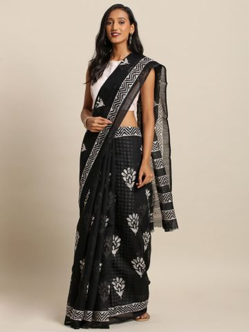 Vastranand | VASTRANAND  Black & White Cotton Blend Printed Dabu Saree