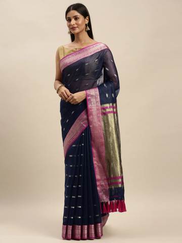 Vastranand | VASTRANAND Navy Blue & Gold-Toned Net Woven Design Kota Saree