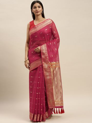 Vastranand | VASTRANAND Red & Gold-Coloured Net Woven Design Kota Saree