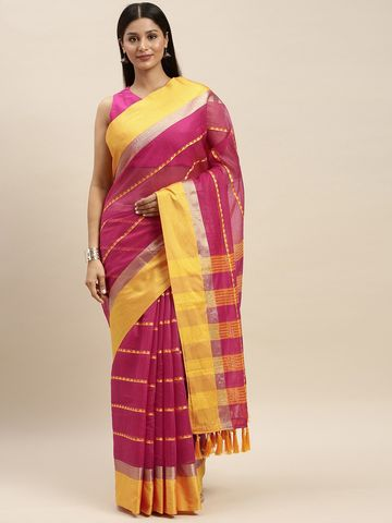 Vastranand | VASTRANAND Pink & Yellow Net Striped Kota Saree
