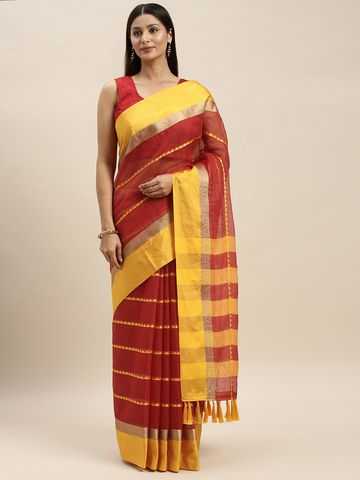 Vastranand | VASTRANAND Maroon & Yellow Net Striped Kota Saree