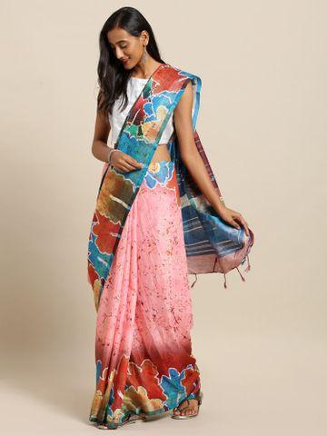 Vastranand | VASTRANAND  Pink & Red Linen Blend Printed Khadi Saree