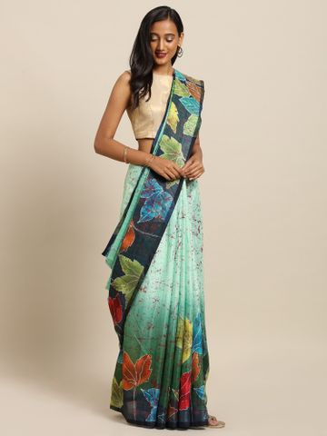 Vastranand | VASTRANAND  Multicoloured Linen Blend Abstract Printed Khadi Saree
