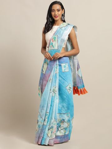 Vastranand | VASTRANAND Blue & White Linen Blend Printed Saree with Tassels