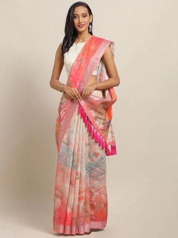 Vastranand | VASTRANAND Pink & Blue Linen Blend Digital Floral Printed Khadi Saree