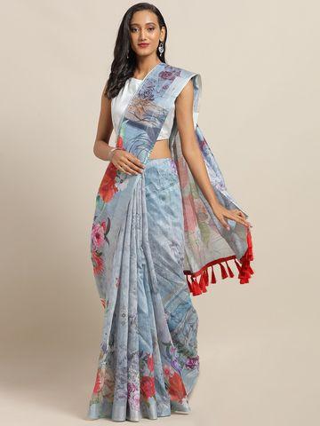 Vastranand | VASTRANAND Grey & Red Linen Blend Floral Printed Khadi Saree