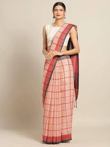 Vastranand | VASTRANAND Peach-Coloured & Red Linen Blend Checked Banarasi Saree