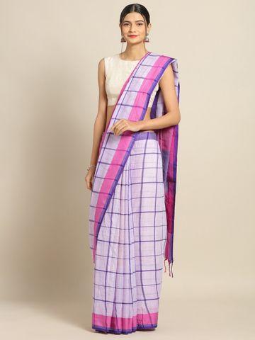 Vastranand | VASTRANAND Purple & Pink Linen Blend Checked Banarasi Saree
