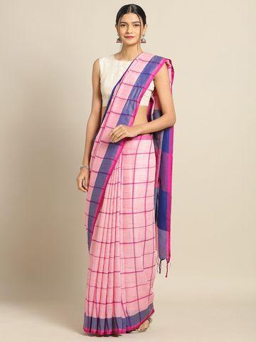 Vastranand | VASTRANAND Pink & Navy Blue Linen Blend Checked Banarasi Saree