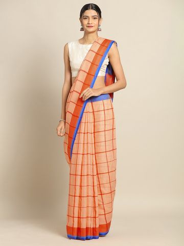 Vastranand | VASTRANAND Orange & Blue Linen Blend Checked Banarasi Saree