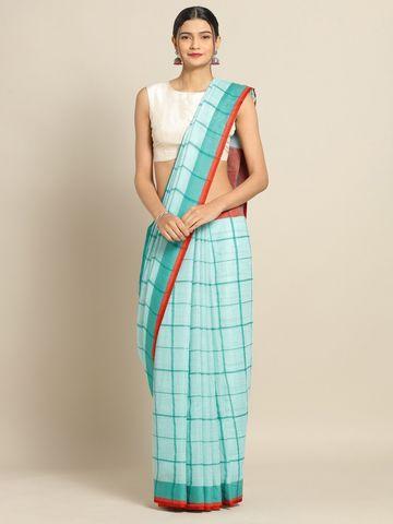 Vastranand | VASTRANAND Blue & Red Linen Blend Checked Banarasi Saree