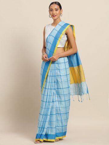 Vastranand | VASTRANAND Blue Linen Blend Checked Banarasi Saree