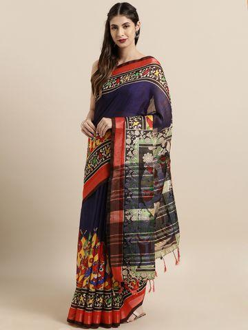 Vastranand | VASTRANAND  Navy Blue & Red Linen Blend kalamkari Printed Saree