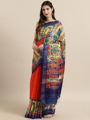 Vastranand | VASTRANAND  Red & Navy Blue Linen Blend kalamkari Printed Saree