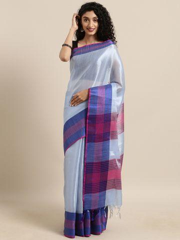 Vastranand | VASTRANAND  Blue Solid Linen Linen Saree