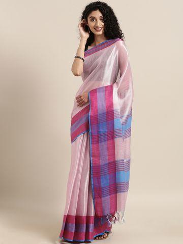 Vastranand | VASTRANAND  Pink Solid Linen Saree