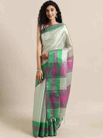 Vastranand | VASTRANAND  Green Solid Linen Saree