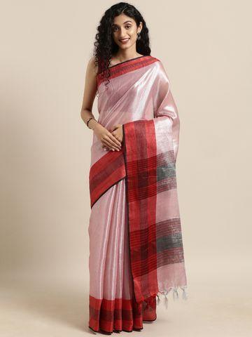 Vastranand | VASTRANAND  Pink Solid Linen Linen Saree