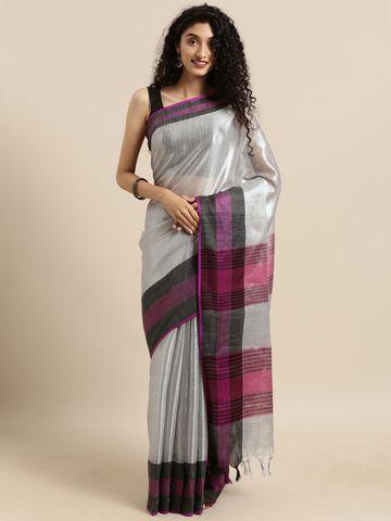 Vastranand | VASTRANAND  Grey Solid Linen Linen Saree