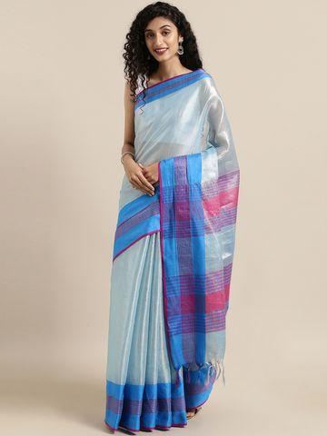 Vastranand | VASTRANAND  Blue Solid Linen Saree