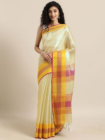 Vastranand | VASTRANAND  Yellow Solid Linen Linen Saree