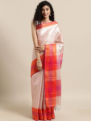 Vastranand | VASTRANAND  Peach-Coloured Solid Linen Saree