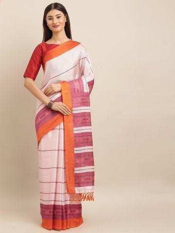 Vastranand | VASTRANAND  Off-White & Mauve Jute Printed Saree