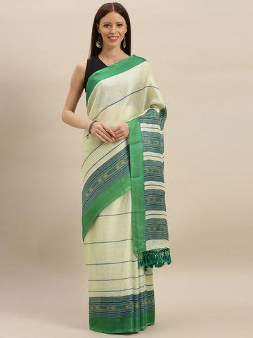 Vastranand | VASTRANAND  Off-White & Green Jute Striped Saree