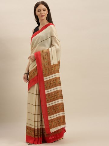 Vastranand | VASTRANAND  Off-White & Brown Jute Striped Saree
