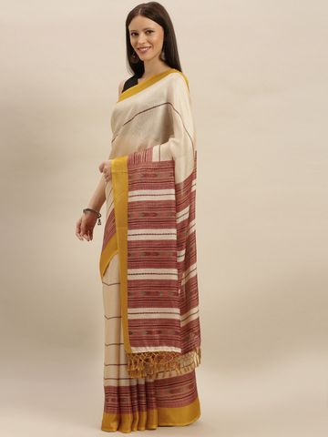 Vastranand | VASTRANAND  Cream-Coloured & Brown Jute Striped Saree