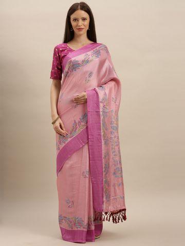 Vastranand | VASTRANAND  Pink Jute Printed Ikat Saree