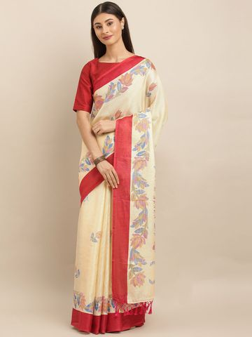 Vastranand | VASTRANAND  Cream-Coloured & Pink Jute Printed Ikat Saree