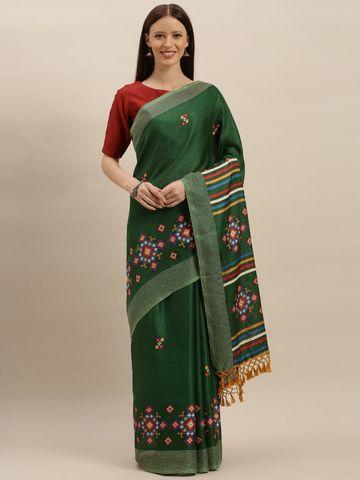 Vastranand | VASTRANAND  Green & Blue Jute Printed Saree