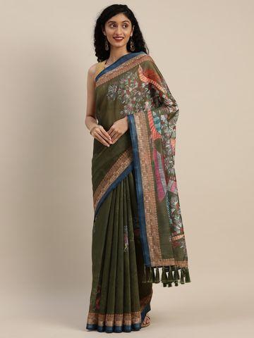 Vastranand | VASTRANAND  Olive Green & White Linen Blend Printed Madhubani Saree