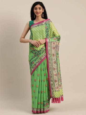 Vastranand | VASTRANAND  Green & Pink Linen Blend Printed Madhubani Saree