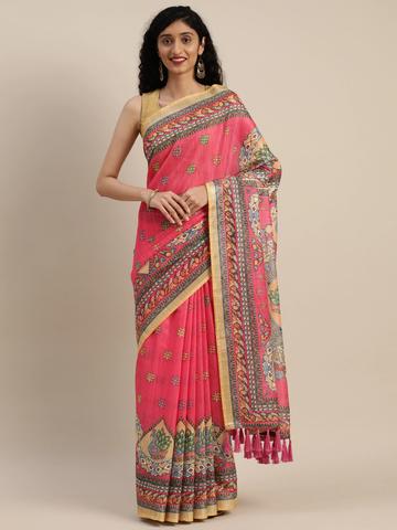 Vastranand | VASTRANAND  Pink & Beige Linen Blend Printed Madhubani Saree