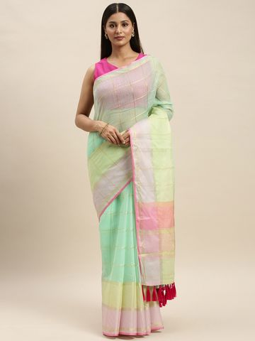 Vastranand | VASTRANAND Sea Green & Fluorescent Green Net Striped Kota Saree